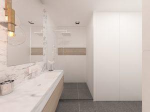 Wizualizacja jasnej łazienki z prysznicem z odpływem liniowym i deszczownicą