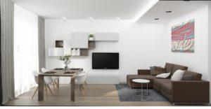 Wizualizacja salonu z beżową sofą i stołem jadalnianym