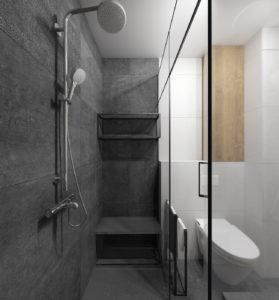 Szara łazienka w stylu nowoczesnym z kabiną prysznicową z siedziskiem