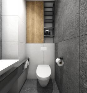 Szara łazienka w stylu nowoczesnym i zabudową na wymiar