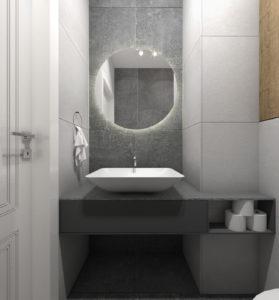Szara łazienka w stylu nowoczesnym z podświetlanym lustrem i umywalką nablatową