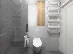 Mała, szara łazienka w stylu nowoczesnym z zabudową na wymiar