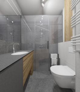 Szara łazienka w stylu nowoczesnym z prysznicem bez brodzika