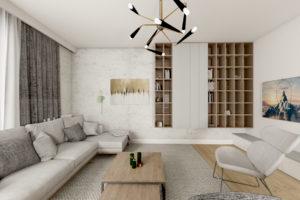 Szary salon w stylu nowoczesnym z narożnikiem