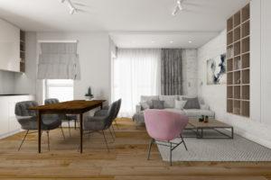 Kuchnia otwarta na salon w stylu nowoczesnym, z drewnianą podłogą