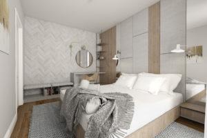 Nowoczesna, szara sypialnia z dużym łóżkiem i zabudową meblową