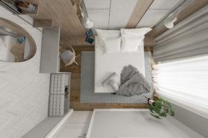 Szara sypialnia w stylu nowoczesnym - rzut z góry