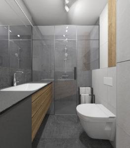 Mała, szara łazienka w stylu nowoczesnym z umywalką wpuszczaną w blat