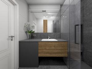 Mała, szara łazienka w stylu nowoczesnym z podwieszaną szafką