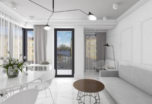 Jasny salon z balkonem w stylu nowoczesnym